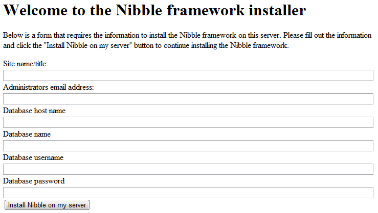 Install Nibble Framework config page